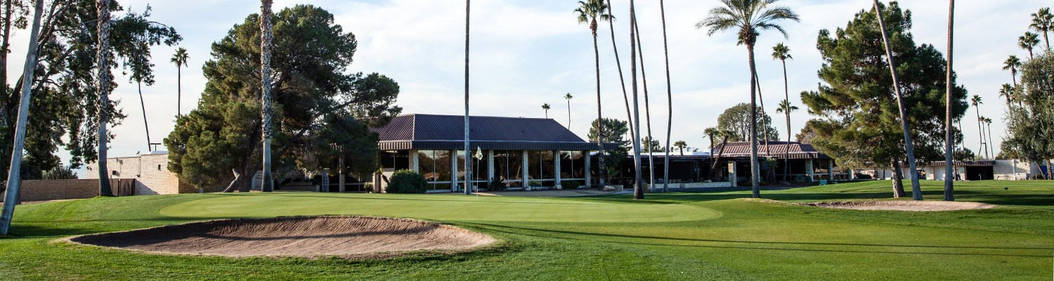 View of the clubhouse from the greens.